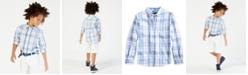 Tommy Hilfiger Ethan Long-Sleeve Woven Plaid Shirt, Big Boys