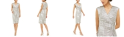 Connected Petite Metallic Zip Sheath Dress
