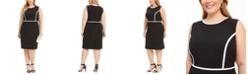Kasper Plus Size Piped Crepe Sheath Dress