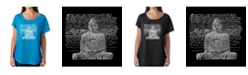 LA Pop Art Women's Dolman Cut Word Art Shirt - Zen Buddha