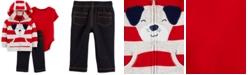 Carter's Baby Boys 3-Pc. Cotton Dog Hoodie, Bodysuit & Denim Pants Set