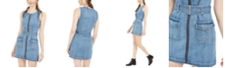 Rewash Juniors' Zip-Front Denim A-Line Dress