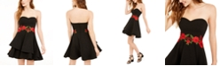 B Darlin Juniors' Appliqué Strapless Dress