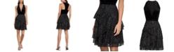 BCBGMAXAZRIA Velvet & Pleated Tulle Dress