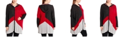 Joseph A Plus Size Colorblocked Hooded Zip-Front Poncho
