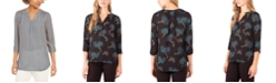 NY Collection Petite Printed Y-Neck Top
