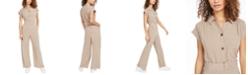 Monteau Petite Button-Front Wide-Leg Jumpsuit