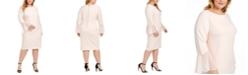 Calvin Klein Plus Size Chiffon Bell-Sleeve Sheath Dress