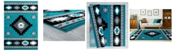 "Asbury Looms Bristol Caliente 2050 10469 912 Turquoise 7'10"" x 10'6"" Area Rug"