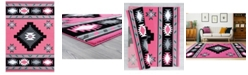 "Asbury Looms Bristol Caliente 2050 10486 69 Pink 5'3"" x 7'6"" Area Rug"