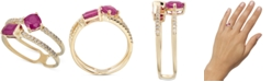 Macy's Certified Ruby (1-1/10 ct. t.w.) & Diamond (1/5 ct. t.w.) Double Band Statement Ring in 14k Gold