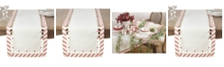 Saro Lifestyle Candy Cane Design Christmas Holiday Table Runner