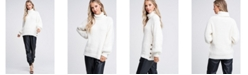 Emory Park Turtleneck Long Sleeve Slide Slit Sweater With Button Detail
