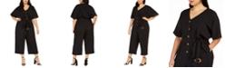 Calvin Klein Plus Size Belted Gauze Jumpsuit