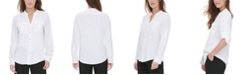 Calvin Klein Textured Roll-Tab Blouse