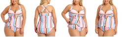 California Waves Trendy Plus Size Striped Tankini Top & Ruched-Side Bikini Bottoms, Created for Macy's