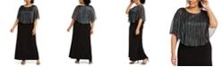 Connected Plus Size Metallic-Stripe Capelet Gown