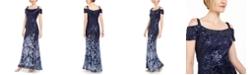 R & M Richards Embellished Cold-Shoulder Gown