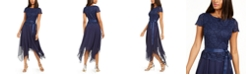 Jessica Howard Glitter Lace Top Handkerchief-Hem Dress