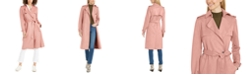 Tahari Faux-Suede Belted Trench Coat