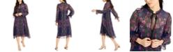 Nanette Lepore Tie-Neck Chiffon Swing Dress