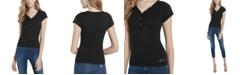 GUESS V-Neck Logo Henley T-Shirt
