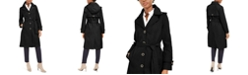 Anne Klein Belted Hooded Water-Resistant Raincoat