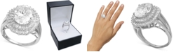 Macy's Cubic Zirconia Baguette Halo Statement Ring in Sterling Silver or 18K Gold over Silver