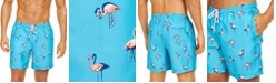 "Club Room Men's Quick-Dry Performance Flamingo-Print 7"" Swim Trunks, Created for Macy's"