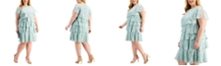 Jessica Howard Plus Size Laser-Cut Ruffle Dress