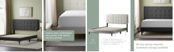Dream Collection Upholstered Platform Bed Frame with Square Tufted Headboard, Twin