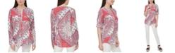 Calvin Klein Paisley-Print Roll-Tab Blouse