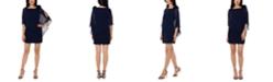 XSCAPE Flower-Trim Overlay Dress