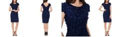 XSCAPE Dimensional Flower-Trim Sheath Dress
