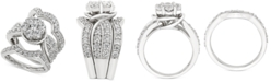Macy's Diamond Cluster 3-Pc. Bridal Set (3 ct. t.w.) in 14k White gold