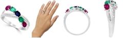 LALI Jewels Multi-Gemstone (7/8 ct. t.w.) & Diamond (1/10 ct. t.w.) Ring in 14k White Gold