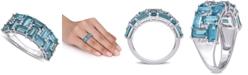 Macy's Blue Topaz (3-5/8 ct. t.w.) & Diamond (1/10 ct. t.w.) Cluster Ring in 10k White Gold