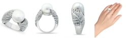 Macy's Imitation Pearl and Multi Row Pave Cubic Zirconia Ring in Fine Silver Plate