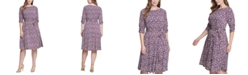 Jessica Howard Plus Size Printed Ruched-Sleeve Dress