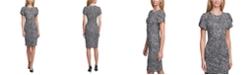 Calvin Klein Printed Tulip-Sleeve Sheath Dress