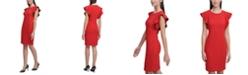 Calvin Klein Ruffle-Sleeve Sheath Dress
