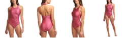 Calvin Klein High-Neck Halter One-Piece Swimsuit