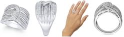 Macy's Diamond Baguette Interwoven Statement Ring (1 ct. t.w.) in Sterling Silver