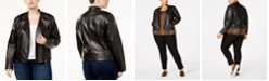 Michael Kors Plus Size Leather Moto Jacket