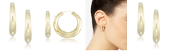 Signature Gold Diamond Accent Polished Knife-Edge Hoop Earrings in 14k Gold over Resin