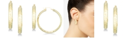 Signature Gold Diamond Accent Hammered Hoop Earrings in 14k Gold over Resin