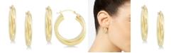 Signature Gold Diamond Accent Interlocking Hoop Earrings in 14k Gold over Resin