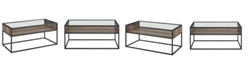 """Walker Edison 40"""" Metal and Glass Coffee Table with Open Shelf - Grey Wash"""
