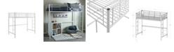 Walker Edison Premium Metal Twin Loft Bed - White