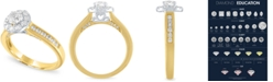 Macy's Diamond Two-Tone Halo Engagement Ring (1 ct. t.w.) in 14k Gold and White Gold